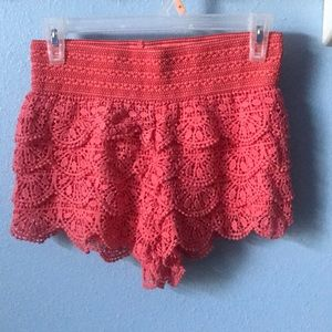 coral colored summer shorts